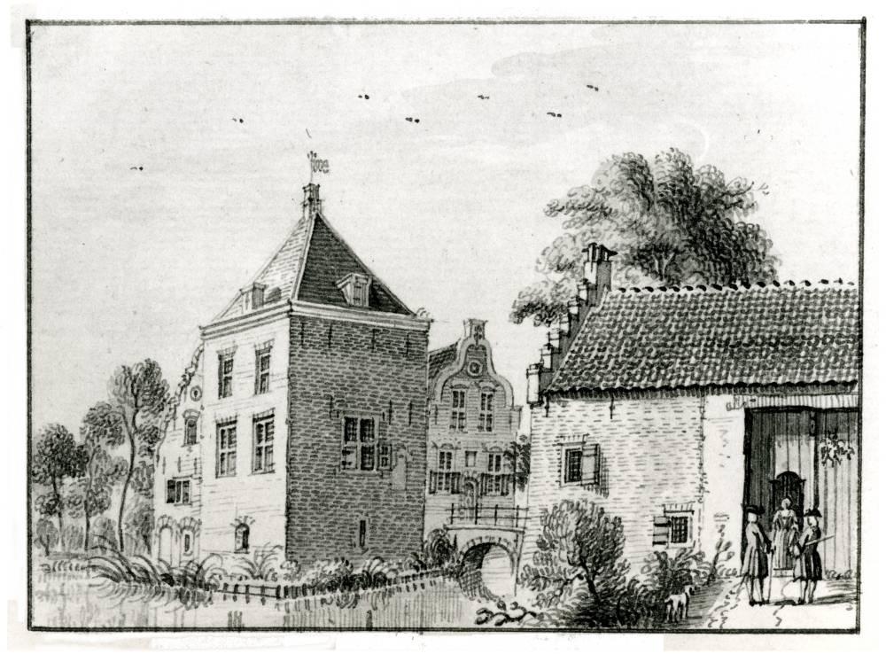 Hinderstein in Langbroek. Tekening Jan de Beijer, 1750